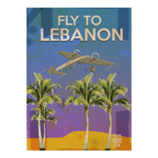 By Air To Lebanon Vintage Travel poster