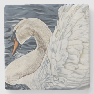 """By Day a Swan"" stone swan coaster. Stone Coaster"