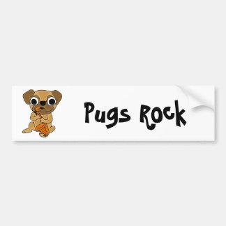 BY- Pug Playing Saxophone Cartoon Bumper Sticker