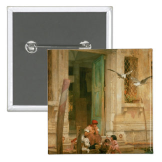 By the Canal, Venice 15 Cm Square Badge