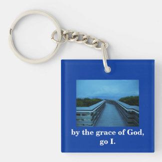 BY THE GRACE OF GOD Double-Sided SQUARE ACRYLIC KEY RING