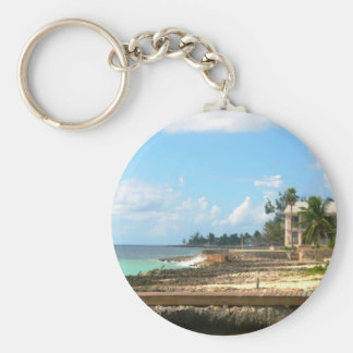 By The Ocean Basic Round Button Key Ring