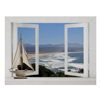 By the Ocean -- Open Window View with Sail Boat Poster