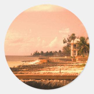 By The Ocean (Peach Tone) Round Sticker