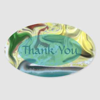By the Sea Abstract Design Oval Sticker