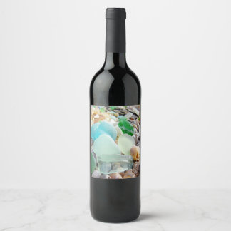 By the Sea Glass Shels Wine Label