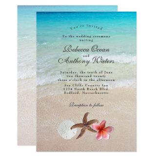 By the Sea Starfish Plumeria Wedding Invitations