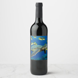 By the Sea Turtle Wine Label