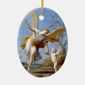 By the Seashore Angel and Child Ceramic Ornament