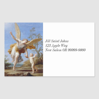 By the Seashore Angel and Child Rectangular Sticker