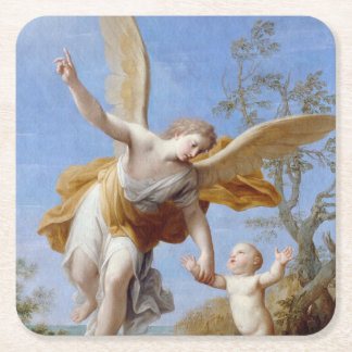 By the Seashore Angel and Child Square Paper Coaster