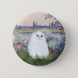 By the Seine - White Persian kitten #49 6 Cm Round Badge