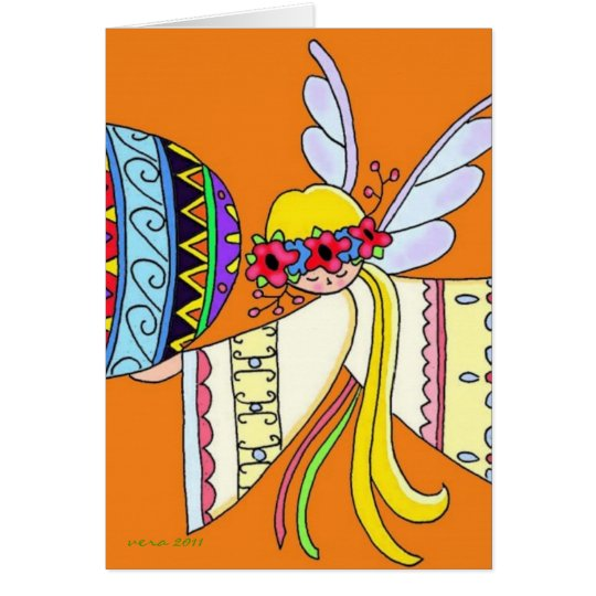 By the Wings of an Angel Ukrainian Folk Art Card