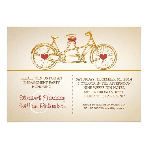 bycicle cute engagement party invitations