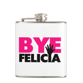 Bye Felicia Hand Wave Hot Pink Hip Flask