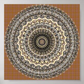 Bygone Love Mandala Kaleidoscope Pattern Poster