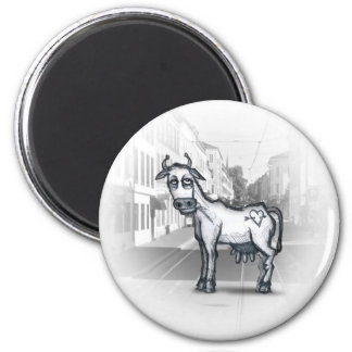 Byku / City Cow 6 Cm Round Magnet