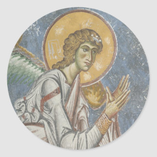 Byzantine Angel with Folded Hands Classic Round Sticker