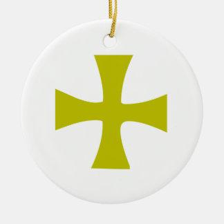 Byzantine Cross of Gold Ceramic Ornament