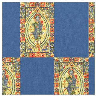 Byzantine folk art Jesus print Fabric