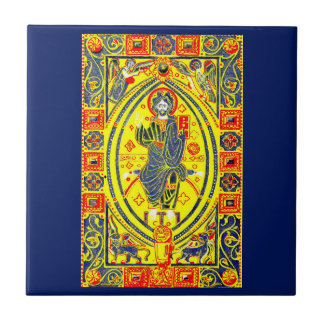 Byzantine folk art Jesus Tile
