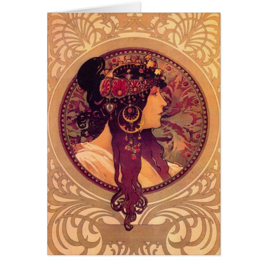 Byzantine Heads: Brunette Alfons Mucha Card