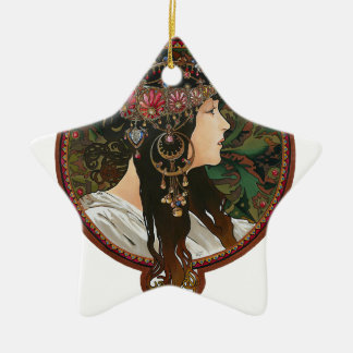 Byzantine Heads: Brunette and Alfons Mucha Ceramic Ornament