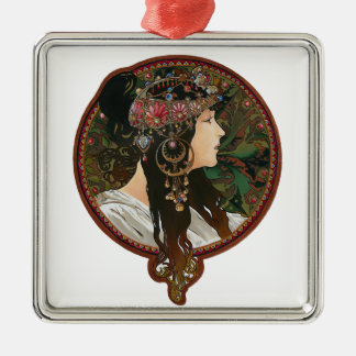 Byzantine Heads: Brunette and Alfons Mucha Metal Ornament