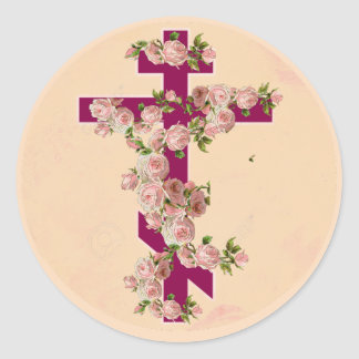 Byzantine Orthodox Eastern Rite Cross Pink Roses Classic Round Sticker