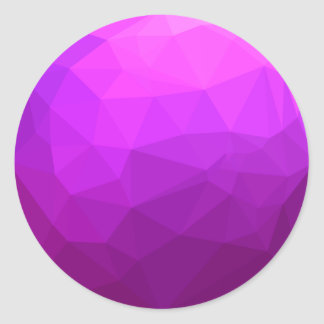 Byzantine Purple Abstract Low Polygon Background Classic Round Sticker