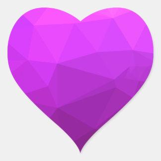 Byzantine Purple Abstract Low Polygon Background Heart Sticker