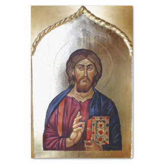 Byzantine Style Icon Of Christ Pantocrator Tissue Paper