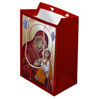 Byzantine Style Icon Of Saint Mary Teotokos Medium Gift Bag
