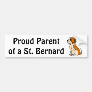 BZ- Adorable St. Bernard Puppy Dog Cartoon Car Bumper Sticker