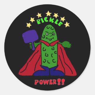 BZ- Pickle Power Superhero Pickleball Cartoon Round Stickers