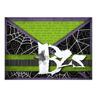 """Bzz Gross Flies and Spider Webs for Halloween 5"""" X 7"""" Invitation Card"""