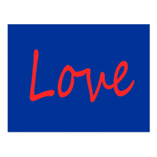 C23 RED LOVE BLUE BACKGROUND FEELINGS HAPPY RELATI POSTCARD