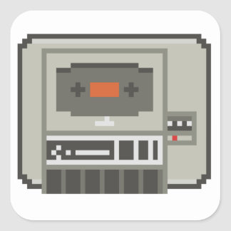C64 Datasette 8bit Tape Cassette Recorder Square Sticker