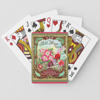 c. 1898 Beautiful Old Floral Seed Packet Image Playing Cards