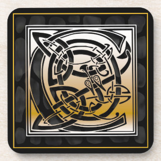 'C' Celtic Black Stone Monogram Coasters