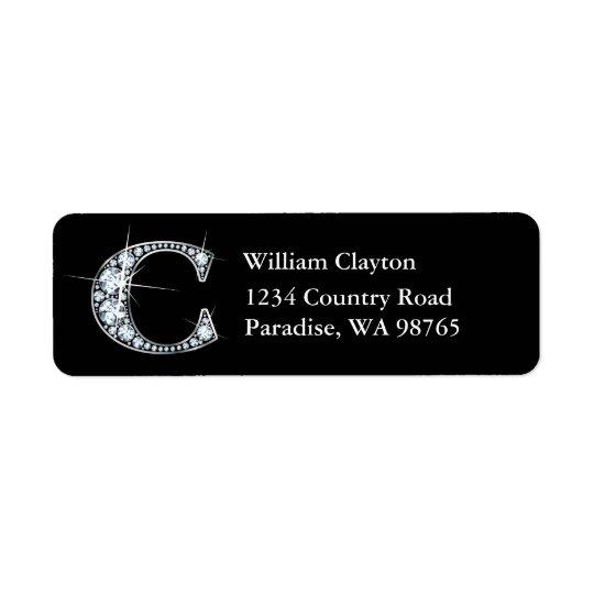 """""""C"""" Diamond Bling Monogram Return Address Label"""