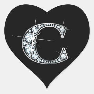 """""""C"""" Diamond Bling on Black Heart Sticker"""