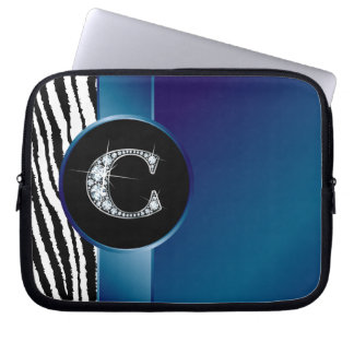 "C ""Diamond"" Zebra Stripe Ribbon Electronics Bag Laptop Sleeve"