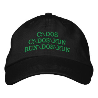 C:\DOS C:\DOS\RUN RUN\DOS\RUN Funny Computer Joke Embroidered Baseball Cap