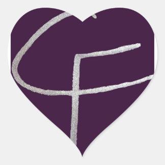 C & F initial Heart Sticker