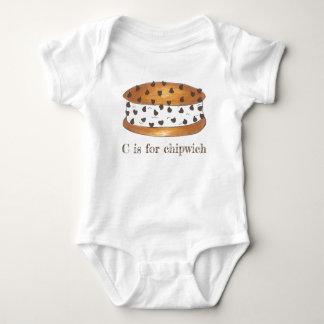C for Chipwich Chocolate Chip Ice Cream Sandwich Baby Bodysuit