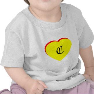 """C"" Heart Yellow Red Wedding Invitation The MUSEUM Tshirt"
