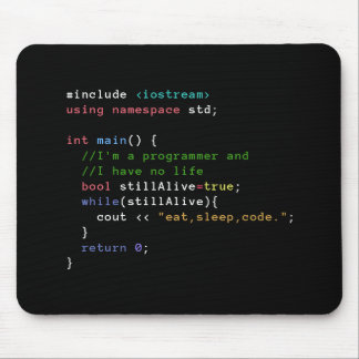 C++ Infinite Loop Eat Sleep Code Mousepad