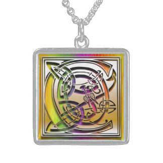C Initial Monogram Celtic Rainbow Necklace Pendant