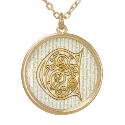 """C Initial Monogram """"Gold Pin Stripe"""" Necklace Personalized Necklace"""